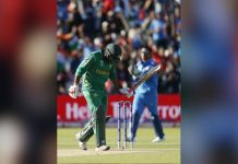 Pakistan's Sarfraz Ahmed looks dejected after he was out